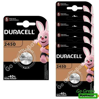6 x Duracell CR2450 3V Lithium Coin Cell Battery 2450 DL2450 K2450L, long exp.