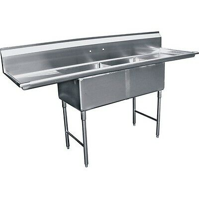 "2 Compartment Stainless Steel Two Tubs Sink 15""x15"" w/ 2 Drainboard ETL SE15152D"