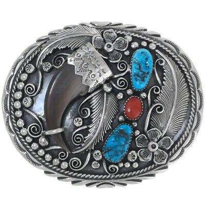 Native American Navajo Sterling Silver Turquoise Coral Mens LRG Belt Buckle