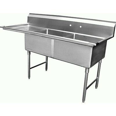 "ACE 2 Compartment Stainless Steel Sink 15""x15"" w/ Left Drainboard ETL SE15152L"