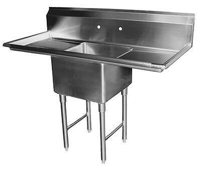 "1 Compartment Stainless Steel Sink 18"" x 18"" with Two Drainboard ETL SE18181D"