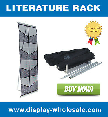 Eight-Pocket Mesh Floor Literature Rack Brochure Magazine Display Holder
