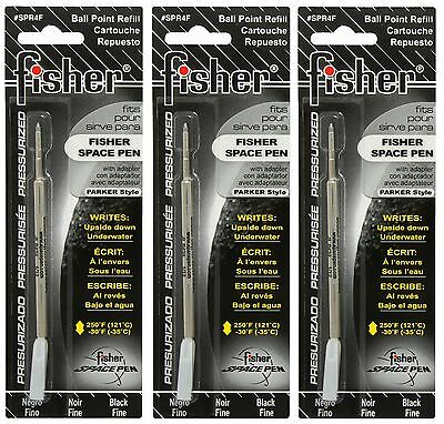 THREE Fisher SPR Series Black Ink / Fine Point Refills #SPR4F