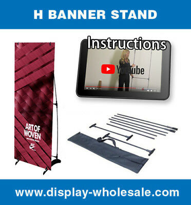"Portable H banner stand Trade Show Booth Exhibit Display 24""x63"""