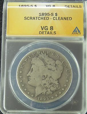 1895-S Morgan Silver Dollar - ANACS VG8 Details Scratched - Cleaned