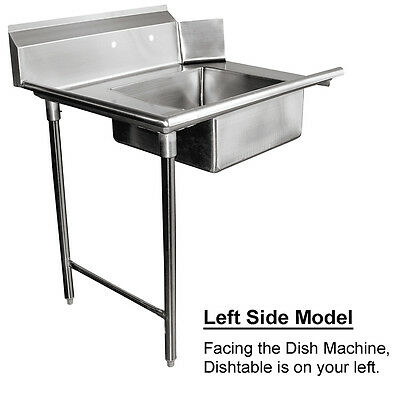 "ACE 48"" Soiled Dish Table Left Side 16 Gauge 304 Stainless Steel DT48S-L"