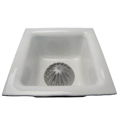 "GSW Porcelain Cast Iron Floor Sink 12""x12""x6"", 2"" Drain with Strainer, FS-1262"