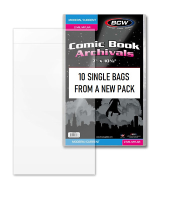 10 BCW Comic Book Mylar Bags Sleeves 2 mil Current Size