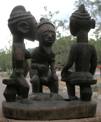 Museum Quality ! Antique Wood Yoruba Family Group  Tribal Artifact