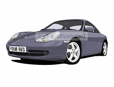 Porsche 911 996 Graphic Car Art Print Picture (Size A3). Personalise It!