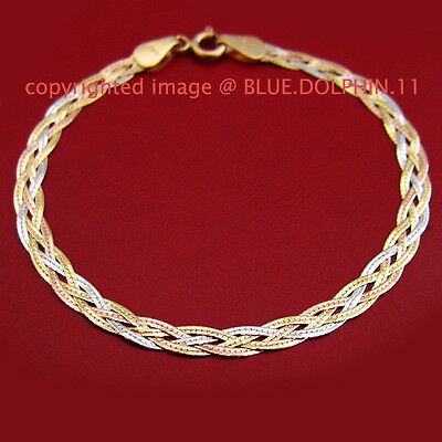Solid 18ct Yellow White Rose Gold Twist Diamond Edge Ring Clasp Bracelet Chain
