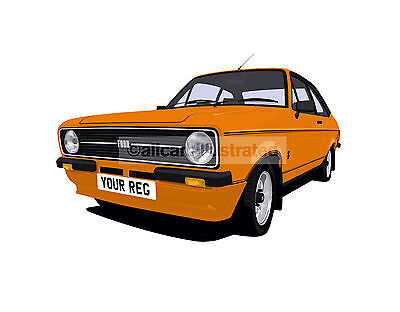 Ford Escort Mexico Mk2 Car Art Print. Personalise It!