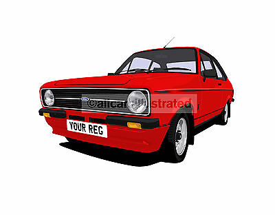 Ford Escort Mexico Mk2 Car Art Print Picture (Size A3). Personalise It!