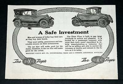 1920 Old Magazine Print Ad, Dixie Flyer Automobile, Investment!