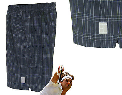 NEW NIKE  Mens Checked TENNIS Practice SHORTS Navy Blue Small S