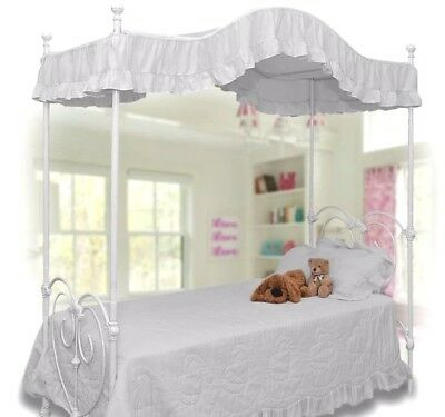Twin size WHITE Ruffled canopy bed cover top topper GORGEOUS!