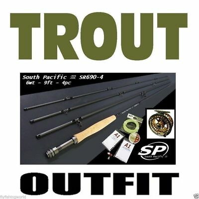 FLY FISHING TROUT COMBO OUTFIT rod reel line backing leader