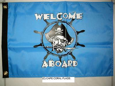 """12""""x18"""" """" Welcome Aboard"""" Pirate Flag Boat/yacht"""
