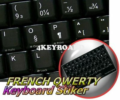 French Qwerty Non-Transparent Keyboard Sticker Black
