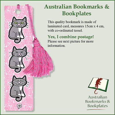 """Pink Minya"" pink cat bookmark with tassel"