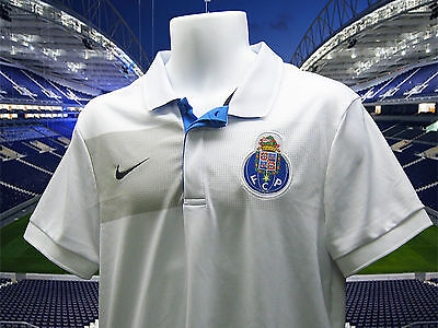 New NIKE PORTO Football Polo Shirt Polyester White S