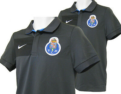 New NIKE PORTO Football Polo Shirt Polyester Grey S