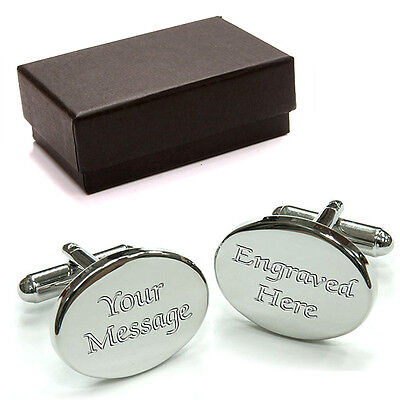 PERSONALISED Oval Rhodium Cufflinks ENGRAVED & P&P FREE