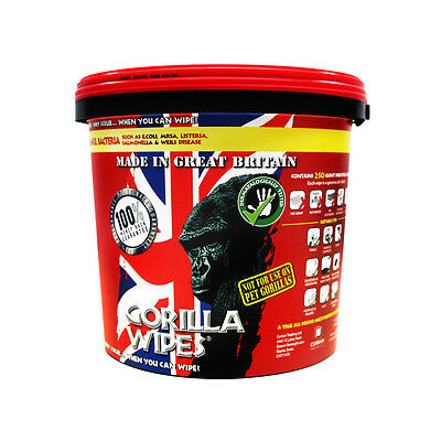 250 GORILLA Hand Giant Cleaning Wipes,Cleans Off Oil,Silicone,Paint,Glue, GW1012