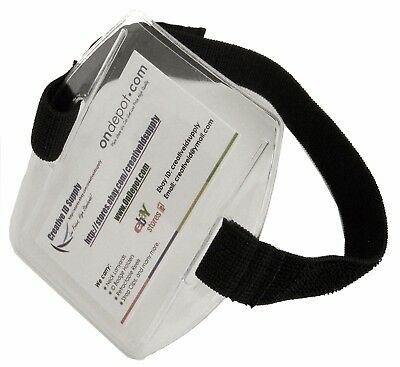 Vertical Arm Band ID Badge Holder Black or White Strap