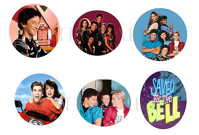 """Saved By the Bell set of 6 ONE INCH BUTTONS 1"""" Pins"""