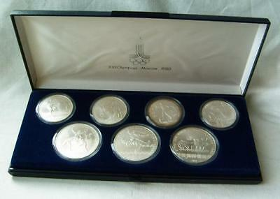 1980 22nd Moscow Olympic Games 7 Silver Coin Set
