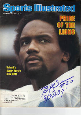 Billy Sims Signed Sports Illustrated Lions 78 Heisman