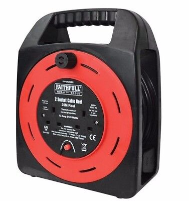 FAITHFULL 25m/82ft 2 Way Plug Gang/Socket Extension Cable Lead Reel, FPPCR25MER
