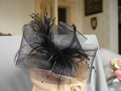 BLACK MESH and  FEATHER FASCINATOR