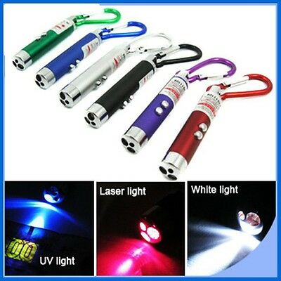 Pack of 3, 3-in-1 Laser, LED & UV Torch Light Key ring (Batteries included)