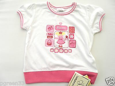 Baby Girls PRINCESS TShirt Top 3-6 Months White & Pink By Ladybird
