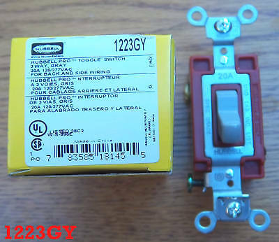 HUBBELL 1223GY SWITCH 20 Amp 120-277 Toggle 1223 gray