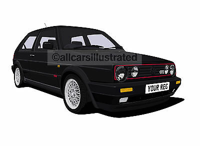 Vw Golf Gti Mk2 Graphic Car Art Print (Size A3). Personalise It!