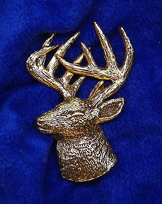 24K Gold Plated Whitetail Deer Head 3/4 View Pin