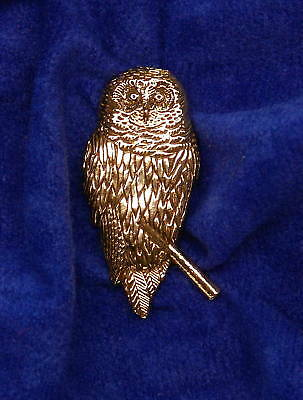 Empire Pewter 24K Gold Plated Pewter Barred Owl Pin