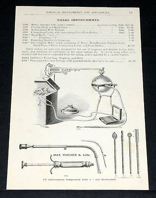 1891 Wocher Surgical Catalog Page 101, Nasal Instruments, Burr Motor Outfits!