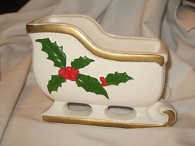 Vintage Christmas Sleigh Planter White with Holly Leaves & Berries