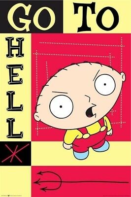 FAMILY GUY ~ STEWIE GRIFFIN GO TO HELL 23x35 CARTOON POSTER NEW/ROLLED!