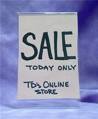 """LOT OF 6  CLEAR ACRYLIC SIGN HOLDERS 3.5""""W x 5.5""""H"""