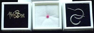 White 10 Glass Top Gem Boxes W/ Reversible Pad