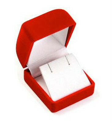 Wholesale Lot Of 12 Square Flocked Earring Boxes Red