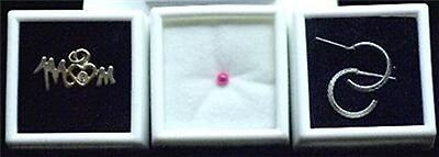 White 10 Glass Top Gem Boxes W/ Reversible Pad 1 Inch