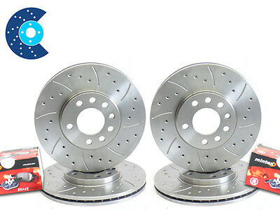 BMW E36 328 Front Rear Drilled Grooved MTEC Brake Discs & Mintex Pads