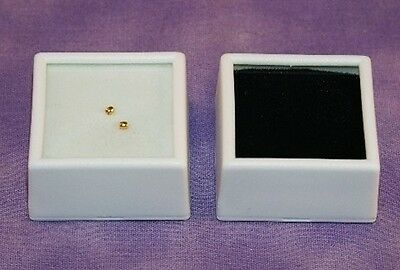25 Glass Top Gem Boxes W/ Reversible Pad 1.5 Inch White
