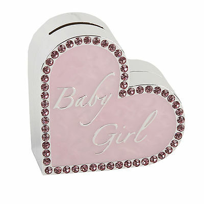 Pink Heart Money Box / Bank -Baby Girl Christening Gift